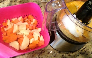 Drained potato and carrot mixture