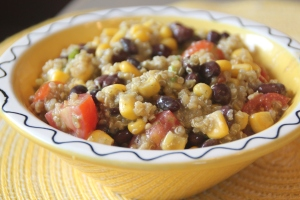 Quinoa, black beans, and a creamy cilantro dressing.