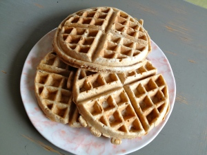 3 large waffles. Probably should have done 4. This batter was oozing out the sides of the waffle maker. So yummy.