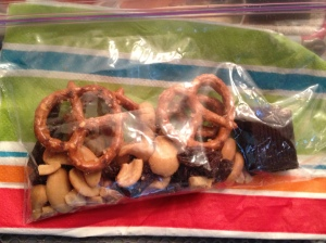 Snack pack. Cashews=protein, Raisins=because he likes them, Pretzels=just because, and Dark Chocolate=A sweet treat