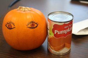 I brought these as visuals to show that pumpkin has an amazing amount of beta-carotene for their eyes. I thought for sure I was going to get a comedic response to my art work, but they surprisingly liked it.