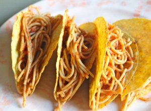 If you have never done the spaghetti taco, give it a try.