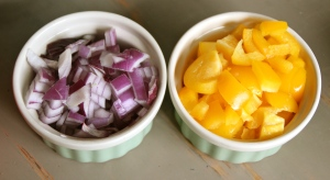 Red onion and chopped yellow pepper.