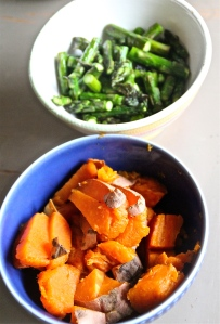 Roasted sweet potatoes and asparagus.