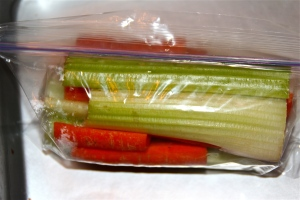 Celery and carrots. Can't forget our vegetable. Non-negotiable.