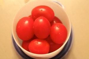 Cherry tomatoes. These may or may not come back home. I never know with these babies. Depends on the day.