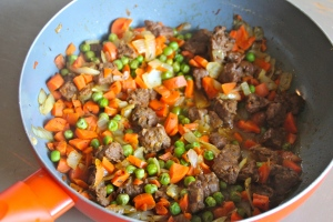 Carrots, peas, onions, beefless tips.