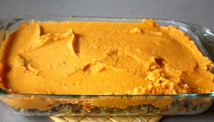 Spread your sweet potato layer on top.