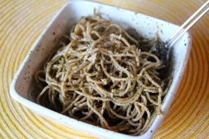 We put it on whole wheat spaghetti.