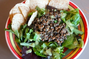 Lentil and Mixed Greens Salad.