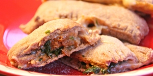 Vegetarian Spinach and Sausage Pizza Pockets