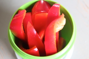 Sliced red pepper. Yes. Another colored veggie. Amp up the vitamin C. Yes, red peppers have more vitamin C than oranges. Not sure why oranges get all of the glory.