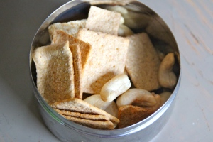 Whole grain crackers and cashews. Not much to say on this one other than that it is a heck of a lot better than cheeze-its.