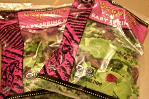 Buy 2 bags of spring mix. Organic of course.