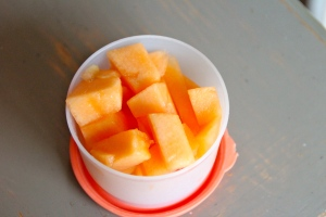 Cut cantaloupe satisfies my fruit requirement.