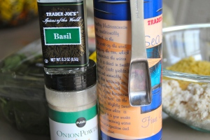 Basil, onion powder and salt.