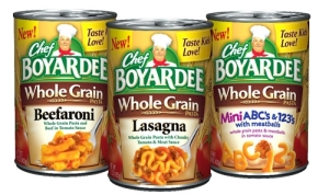 "Hilarious. Since when does slapping the label ""whole grain"" on Chef Boyardee make it healthy? I applaud their efforts, but seriously? I'd rather give my kids plain white pasta than this sodium-laden canned goop."