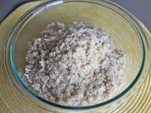 Cook your rice. I went the easy route and got the 3 pack of microwavable brown rice from Trader Joes. More time? Do it the old fashion way.