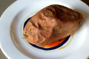 It all started with this. One baked sweet potato.
