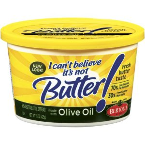 """Olive oil butter. As if it magically makes it healthy. """"Olive oil"""". Oh right, that's the stuff that's good for my heart, right?? Wrong. Media= 1 You= 0."""