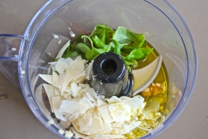 Pile the ingredients in...and whir up that food processor.