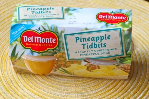 Pineapple Tidbits. These are in straight up juice, not syrup. Of course fresh fruit is best, but if you are going with a fruit cup?? Go with the ones in syrup.