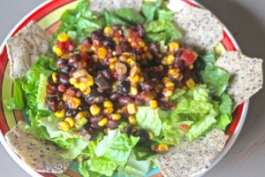 "No need for any dressing. Once this salad is mixed up the salsa adds plenty of ""wet"" to the lettuce.  Good stuff!"