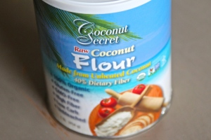 then grabbed some coconut flour...(you could use regular flour if you do not care about it being gluten free)