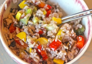 Sesame rice with summer vegetables.