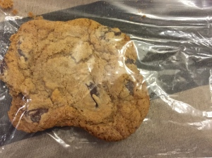 And the sweet treat is a large chocolate chip cookie that we baked.